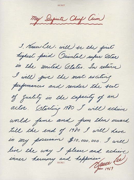 ACTUAL LETTER BRUCE LEE WROTE TO HIMSELF...